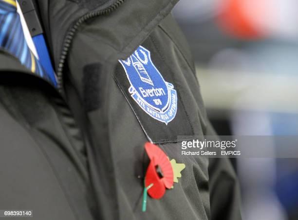An Everton crest on a stewards jacket