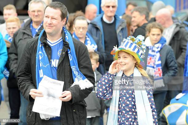 An Everton fan in her home made Easter Bonnet
