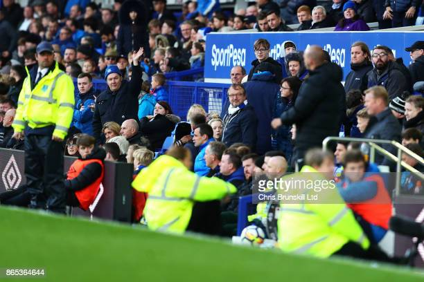 An Everton fan waves in the direction of manager Ronald Koeman during the Premier League match between Everton and Arsenal at Goodison Park on...