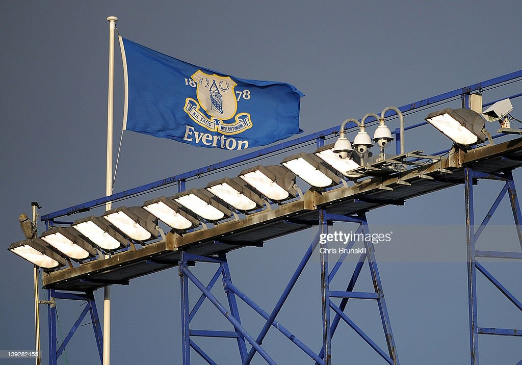 An Everton flag flies above the stadium during the FA Cup Fifth Round match between Everton and Blackpool at Goodison Park on February 18, 2012 in Liverpool, England.