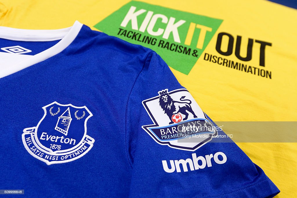 An Everton shirt side by side with a Kick It Out t-shirt ahead of the Barclays Premier League match between Everton and West Bromwich Albion at Goodison Park on February 13, 2016 in Liverpool, England.