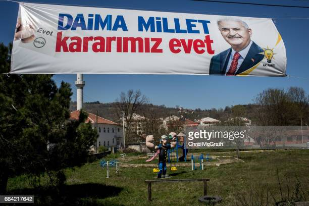 An 'Evet' banner is seen in front of a childrens playground on April 1 2017 outside Ankara Turkey The capital Ankara is the second largest city after...