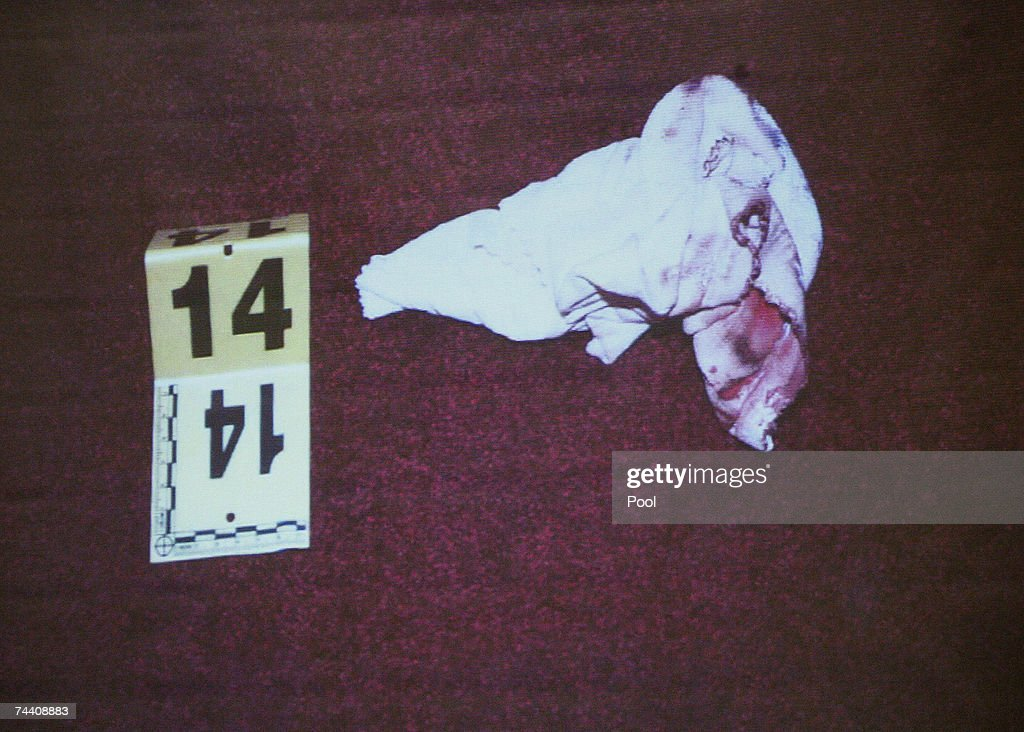 An evidence photograph taken in the foyer bathroom of Phil Spector?s house showing a cloth baby diaper with blood on it, is displayed on a screen during Spector's murder trial at Los Angeles Superior Court June 5, 2007 in Los Angeles. Spector, 67, is accused of the murder of actress Lana Clarkson, who was found shot dead in Spector's Alhambra, California mansion on February 3, 2003.
