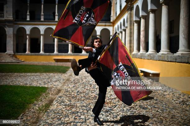An Evora's University student rehearses his performance moments before the Chilean President Michelle Bachelet's Honoris Causa ceremony in Evora on...
