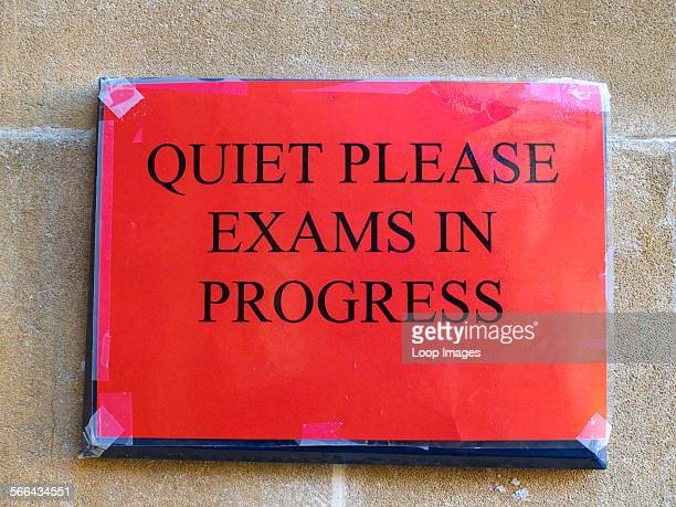 An exam sign outside the Great Hall of Trinity College in Oxford