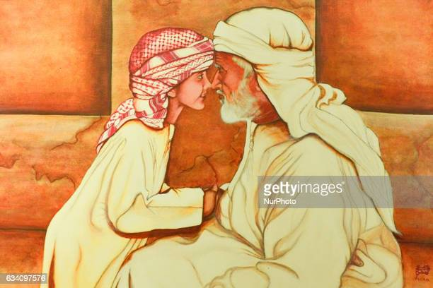 An example of a local art by an Emirati painter inside the House of Sheikh Khalifa Bin Saeed Al Maktoum in Dubai Old Town On Monday 6 February in...