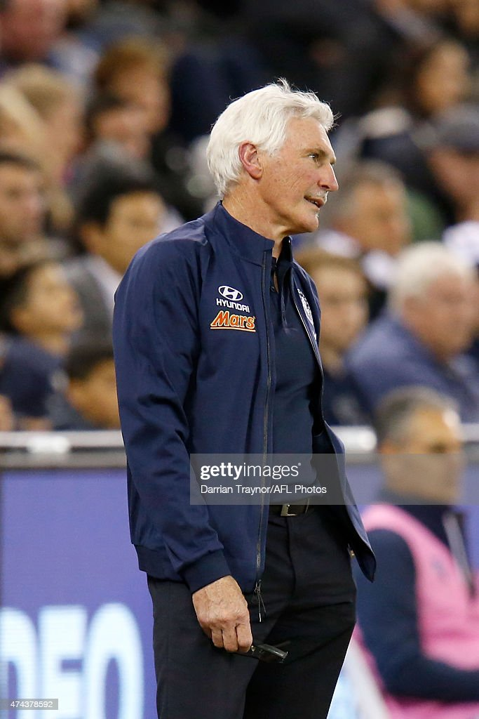 An exasperated Mick Malthouse looks on during the round eight AFL match between the Geelong Cats and the Carlton Blues at Etihad Stadium on May 22, 2015 in Melbourne, Australia.