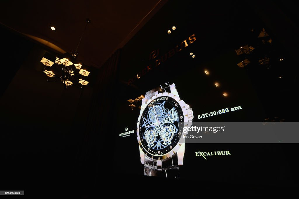 An Excalibur watch is displayed on the screen inside the press conference room of the Roger Dubuis booth during the 23rd Salon International de la Haute Horlogerie at the Geneva Palexpo on January 22, 2013 in Geneva, Switzerland.