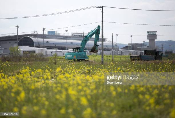 An excavator operates near rapeseed flowers blooming at a field repaired after being damaged by the tsunami following the March 11 2011 earthquake in...