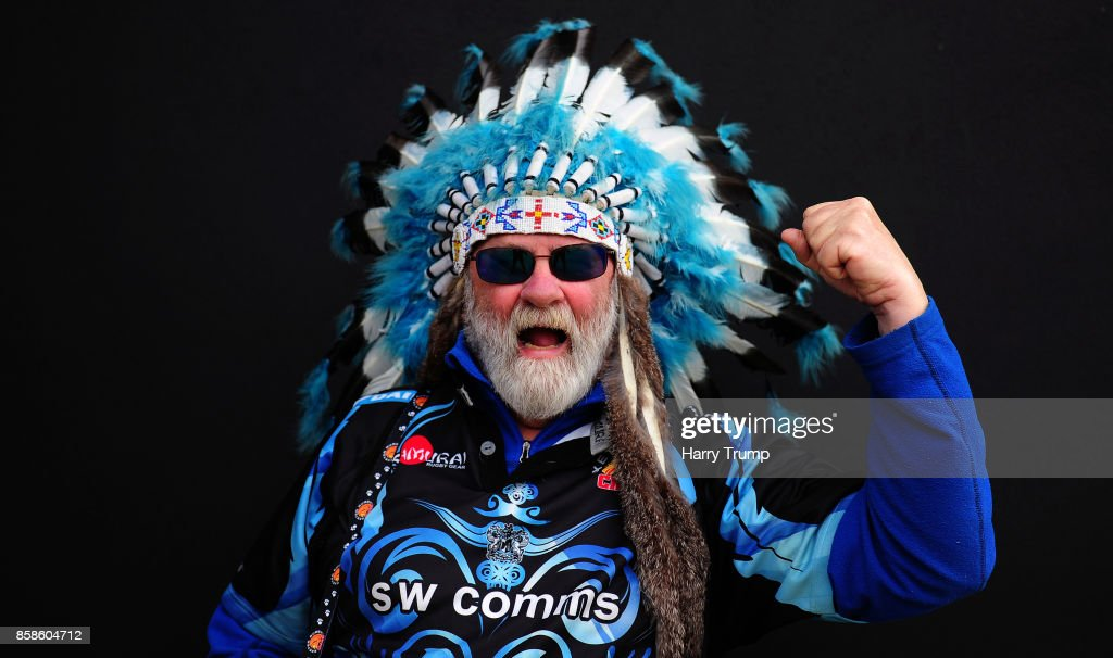 An Exeter Chiefs fan poses for a photo prior to kick off during the Aviva Premiership match between Exeter Chiefs and Newcastle Falcons at Sandy Park on October 7, 2017 in Exeter, England.