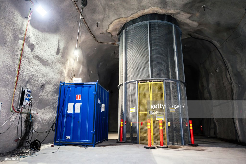 An exhaust air shaft equipped with a maintenance and hoisting lift that can be used in emergency situations to lift people up from lower levels 290 meters underground at Posiva's spent nuclear fuel repository ONKALO in Olkiluoto, Eurajoki, Finland on 17 August 2017.