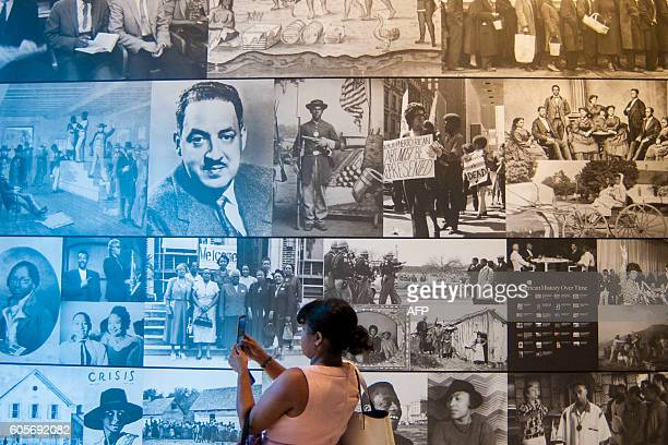 An exhibit is displayed during a press preview at the Smithsonian's National Museum of African American History and Culture in Washington DC on...