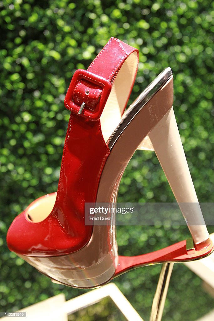 An exhibit on display during a preview of an exhibition celebrating 20 years of designs by French shoe designer Christian Louboutin at the Design Museum on April 30, 2012 in London, England.