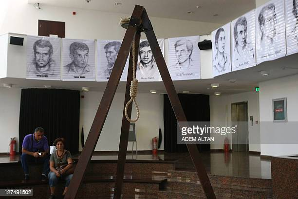An exhibition by friends and relatives of Turkish victims of the Sept 12 1980 military coup shows on September 12 a replica of the gallows used to...