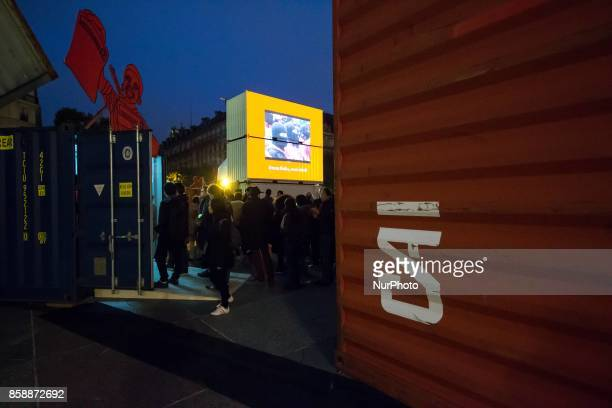 An exhibition by the Chto Delat art collective is displayed outside Paris' City Hall during the White Night 2017 on october 7 2017 Each first...