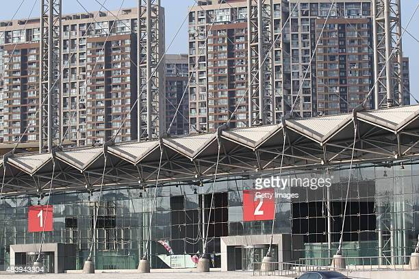 An exhibition center is damaged after Tianjin's warehouse explosion on August 14 2015 in Tianjin China The death toll from Wednesday warehouse...