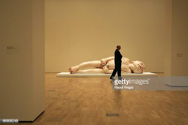 An exhibition piece entitled 'A girl' is seen ahead of the opening of the new Ron Mueck exhibition at the National Gallery of Victoria on January 21...