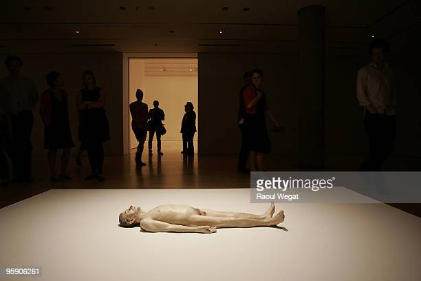 An exhibition piece entitled 'Dead Dad' is seen ahead of the opening of the new Ron Mueck exhibition at the National Gallery of Victoria on January...