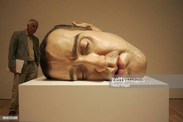 An exhibition piece entitled 'Mask II' is seen ahead of the opening of the new Ron Mueck exhibition at the National Gallery of Victoria on January 21...
