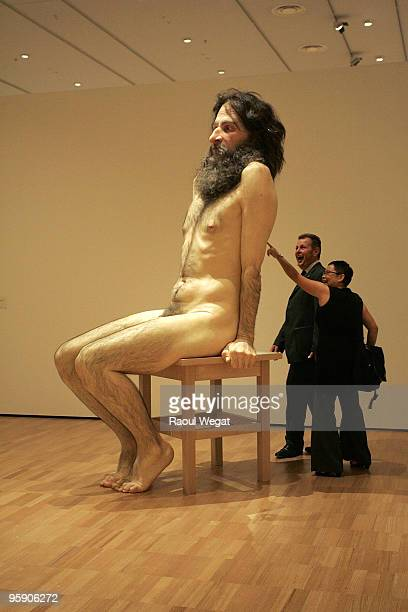 An exhibition piece entitled 'Wild Man' is seen ahead of the opening of the new Ron Mueck exhibition at the National Gallery of Victoria on January...