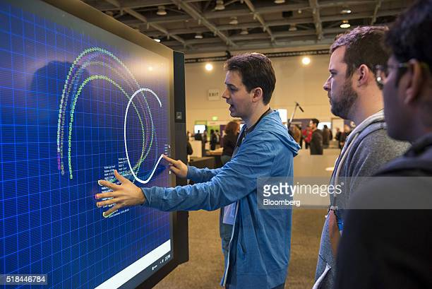 An exhibitor demonstrates the Microsoft Corp Surface Hub at the Microsoft Developers Build Conference in San Francisco California US on Thursday...