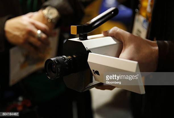 An exhibitor displayed the Eastman Kodak Co Super 8 movie camera during the 2016 Consumer Electronics Show in Las Vegas Nevada US on Friday Jan 8...