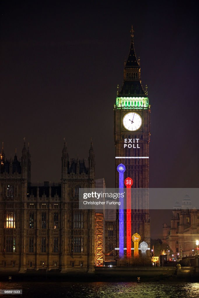 An exit poll conducted by the BBC is projected on to Big Ben at the moment voting finishes on May 6, 2010 in London, England. After five weeks of campaigning, including the first ever live televised Leader?s Debates, opinion polls suggest that the UK is facing the prospect of a hung parliament for the first time since 1974..