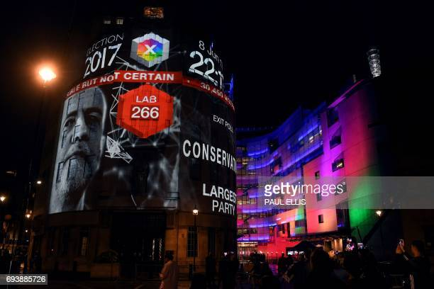An exit poll predicting that the Labour Party led by Jeremy Corbyn will win 266 seats in the British general election is projected onto BBC...