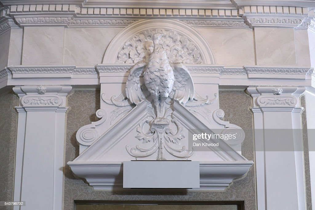 An exit sign is covered up during Former London Mayor and Conservative MP Boris Johnson speech agter he ruled himself out of becoming the next Conservative party leader at St Ermin's Hotel on June 30, 2016 in London, England. Nominations for MP's to declare their intention to run for the Conservative Party Leadership and therefore British Prime Minister will close by noon today. The current Prime Minister and party leader, David Cameron, announced his resignation the day after the UK voted to leave the European Union.