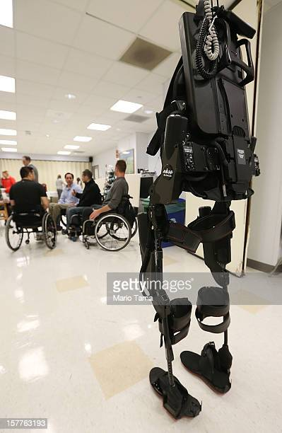 An exoskeleton device made by Ekso Bionics hangs suspended during a demonstration at the opening of the Rehabilitation Bionics Program at Mount Sinai...