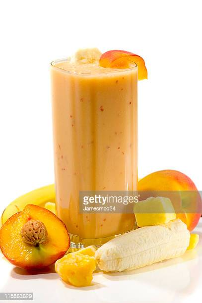 An exotic smoothie with apricots, mangos, and bananas