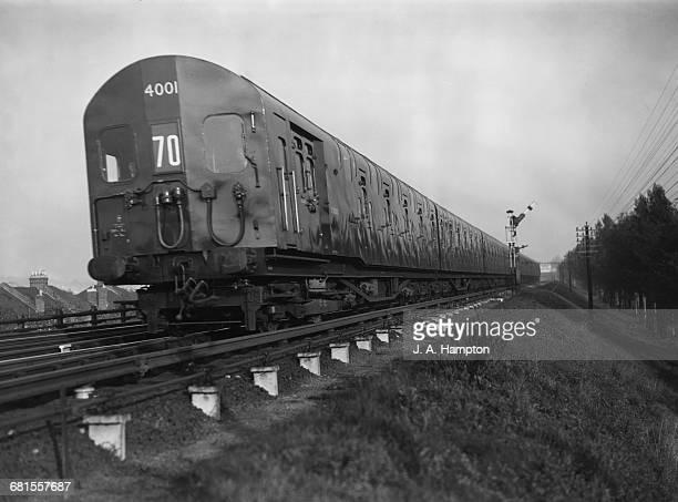 An experimental British Rail Double Decked Passenger train on a demonstration run through Eltham on 2 November 1949 at Eltham Kent United Kingdom