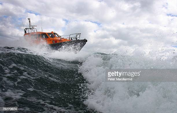 An experimental fast Carriage Lifeboat is tested in the sea near Poole Harbour on July 6 2007 in Dorset England The Royal National Lifeboat...