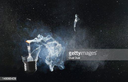An exploded light bulb