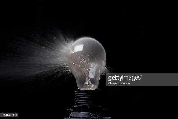 An exploding light bulb