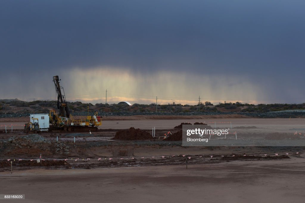 An exploratory drill rig sits on a salt lake at the St Ives Gold Mine operated by Gold Fields Ltd. in Kambalda, Australia, on Wednesday, Aug. 9, 2017. Global gold deals have also slowed, declining to $19.8 billion in 2016 from $22.8 billion a year earlier, according to data complied by Bloomberg.Photographer: Carla Gottgens/Bloomberg via Getty Images