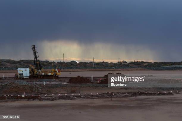 An exploratory drill rig sits on a salt lake at the St Ives Gold Mine operated by Gold Fields Ltd in Kambalda Australia on Wednesday Aug 9 2017...