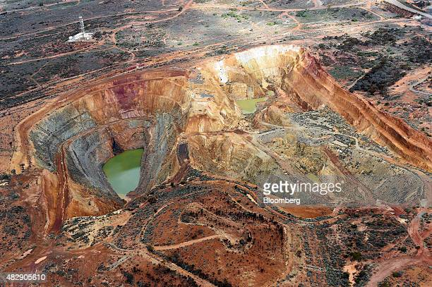 An exploratory mine sits next to the Fimiston Open Pit mine known as the Super Pit unseen in this aerial photograph taken above Kalgoorlie Australia...