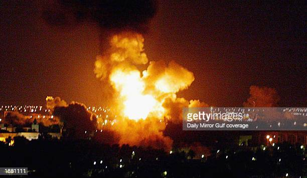 An explosion hits Baghdad on March 22 2003 in Baghdad Iraq as hostilities between US led Coalition forces and the Iraqi Regime continue GETTY