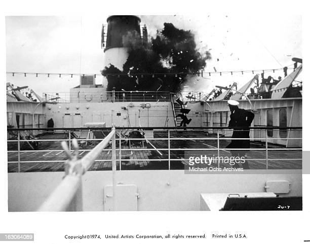 An explosion on a boat in a scene from the film 'Juggernaut' 1974