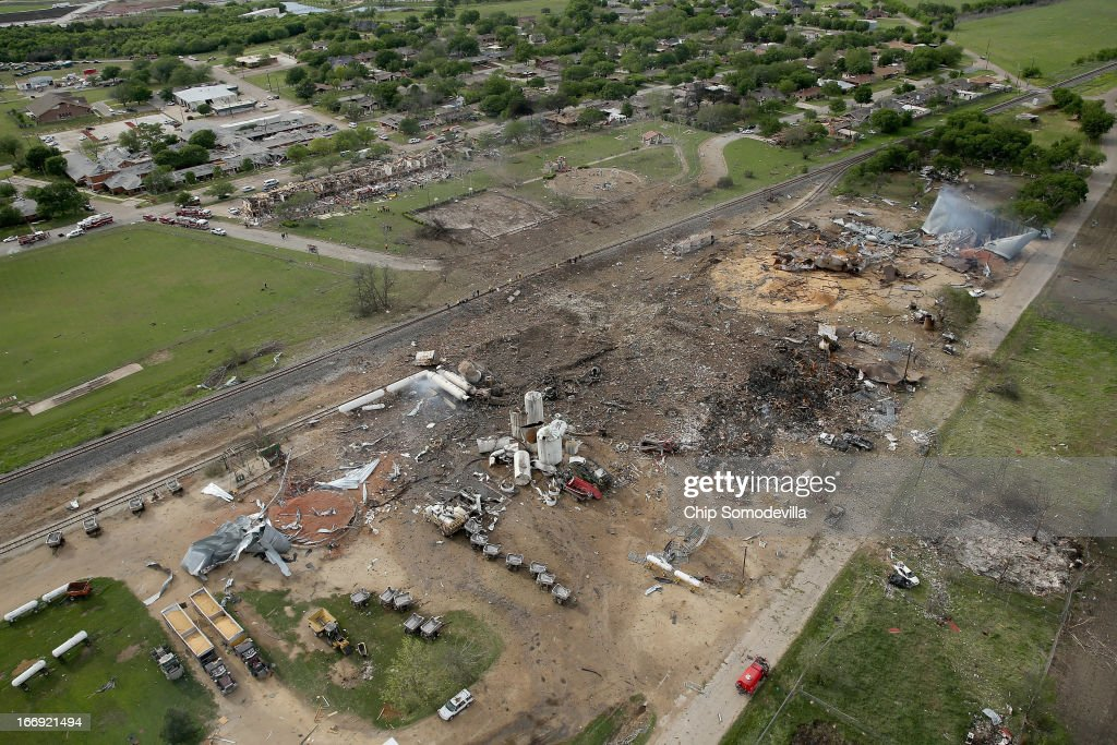 An explosion yesterday leveled the West Fertilizer Company, shown from the air on April 18, 2013 in West, Texas. According to West Mayor Tommy Muska, around 14 people, including 10 first responders, were killed and more than 150 people were injured when the fertilizer company caught fire and exploded, leaving damaged buildings for blocks in every direction.