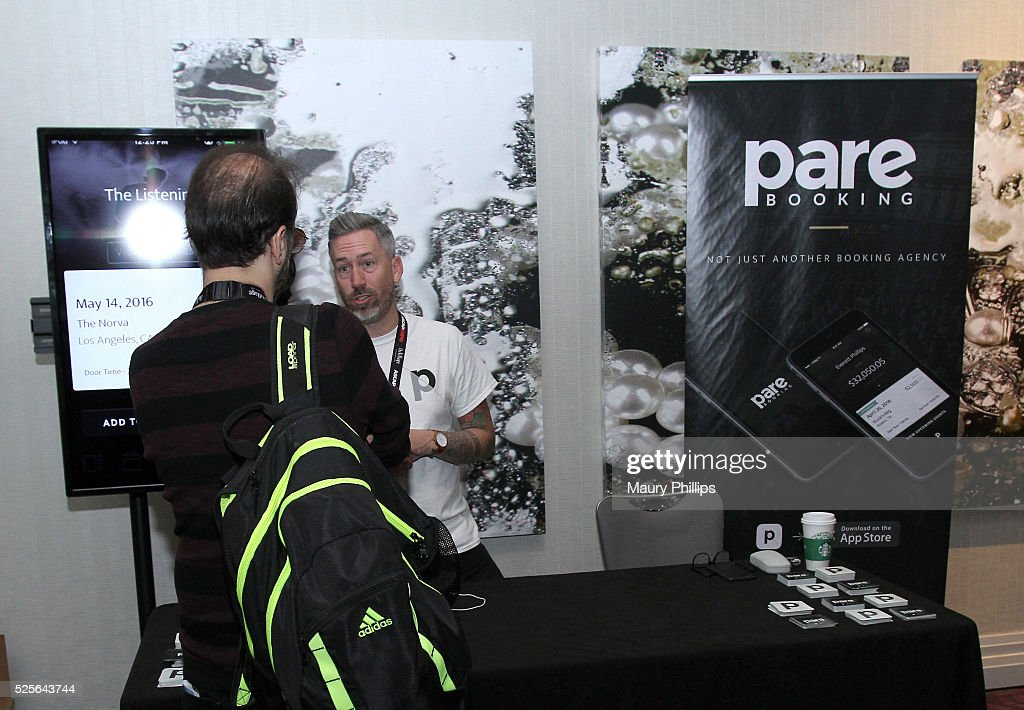 An EXPO attendee visits the Pare Booking booth during the 2016 ASCAP 'I Create Music' EXPO on April 28, 2016 in Los Angeles, California.
