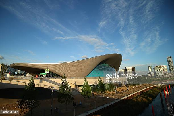 An exterior general view of the London aquatics centre on day two of the FINA/NVC Diving World Series at the Queen Elizabeth Olympic Park on April 26...