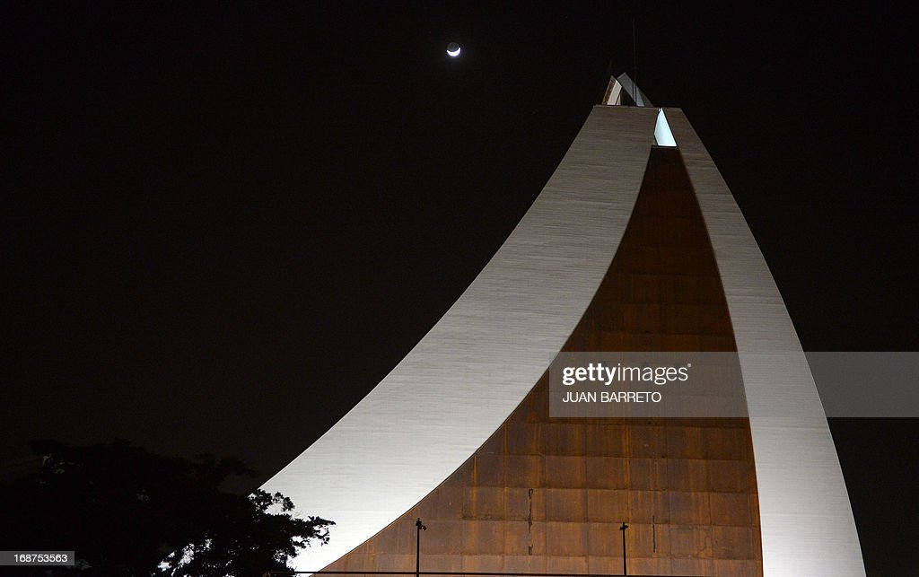 An exterior night view of South American independence hero Simon Bolivar's new mausoleum in Caracas on May 14, 2013. The President of Venezuela, Nicolás Maduro, opened Tuesday in Caracas the mausoleum that will house the remains of the Liberator Simón Bolívar, an imposing monument created in 2010 by the deceased Hugo Chávez. AFP PHOTO