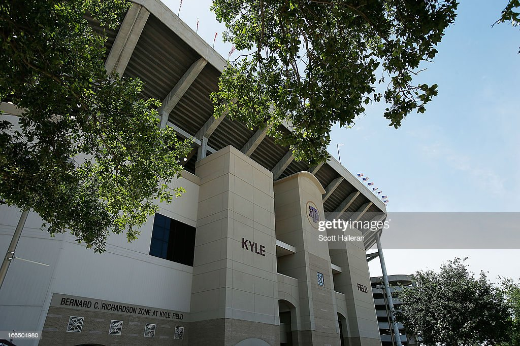 An exterior of the stadium before the start of Texas A&M Aggies Maroon & White spring football game at Kyle Field on April 13, 2013 in College Station, Texas.