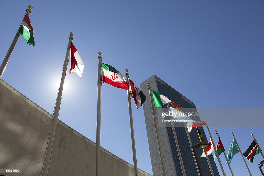 An exterior of the United Nations Headquarters featuring the flags outside pictured on September 28 2013 in New York USA
