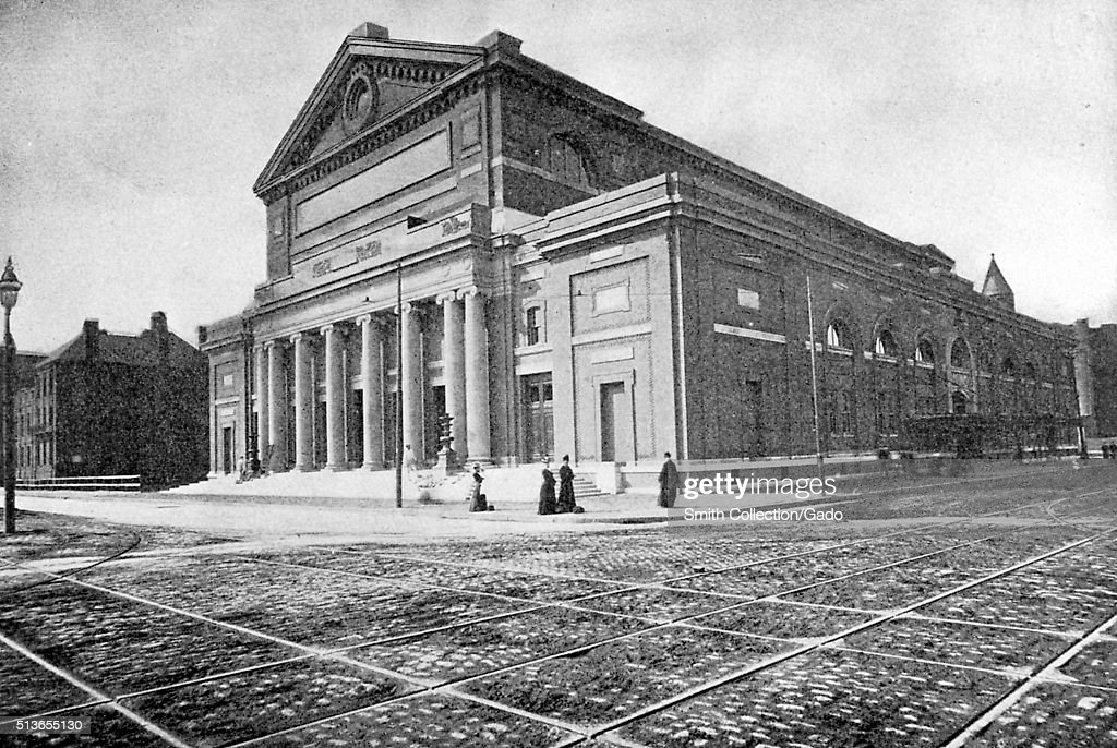An exterior photograph of Symphony Hall it was constructed in 1900 for the Boston Symphony Orchestra it was designated a National Historic Landmark...