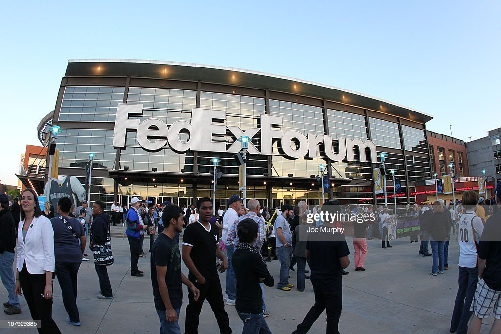 An exterior shot of FedEx Forum before the Memphis Grizzlies played against the Los Angeles Clippers in Game Three of the Western Conference Quarterfinals during the 2013 NBA Playoffs on April 25, 2013 at FedExForum in Memphis, Tennessee.