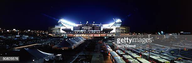 An exterior shot of Invesco Field during the game between the Denver Broncos and the Cleveland Browns on December 14 2003 in Denver Colorado