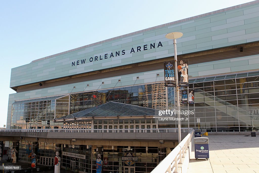 An exterior shot of New Orleans Arena before the game where the New Orleans Hornets against the Denver Nuggets on March 25, 2013 at the New Orleans Arena in New Orleans, Louisiana.